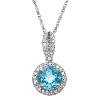 Gioelli Sterling Silver Round Gemstone and Created White Sapphire Accent Pendant