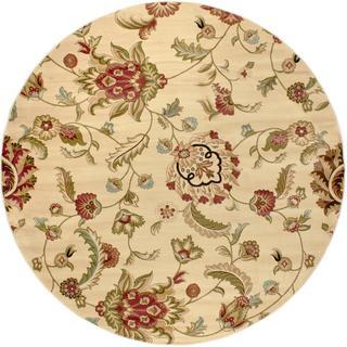 Oriental Floral Ivory Round Rug (7'10)