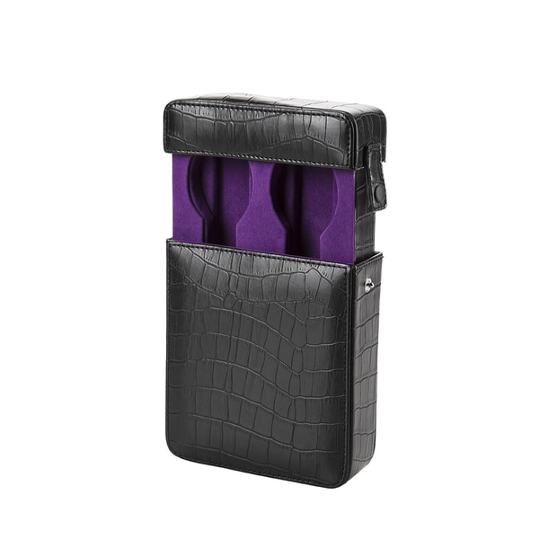 Embossed Black Leather/ Purple Velvet Travel Watch Box