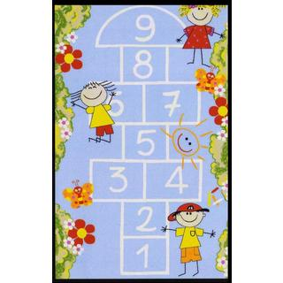 Hop Scotch Non-Skid Rubber Backing Blue Kid's Area Rug (3'3 x 4'6)