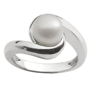 Pearls For You Sterling Silver White Freshwater Button Swirl Ring (8-8.5 mm)