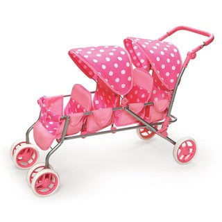 Badger Basket Pink Polka Dot Inline Quad Doll Stroller