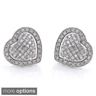 Luxurman 10k Gold 1/2ct White Diamond Heart Stud Earrings (H-I, SI1-SI2)