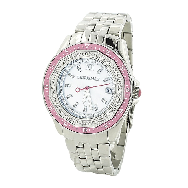 Luxurman Women's 0.25 carat Diamond Pink Watch