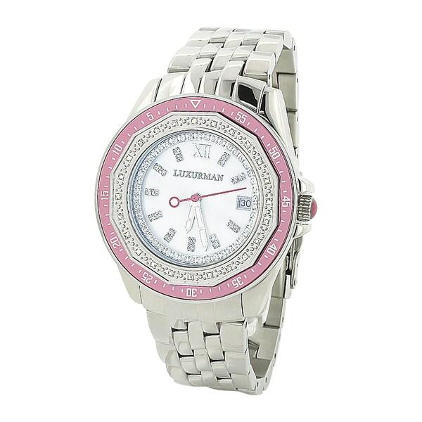Luxurman Women's 0.25 carat Diamond Pink Watch