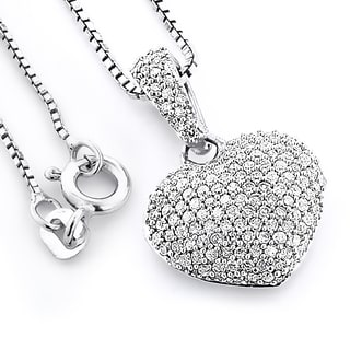 Sterling Silver 1/2ct TDW Pave Diamond Heart Necklace (H-I, SI3)
