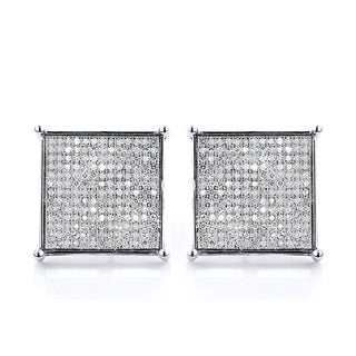 10k White Gold 1 1/8ct TDW Diamond Hip-Hop Square Stud Earrings (H-I, SI1-SI2)