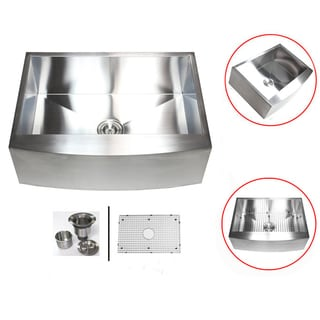 Stainless Steel 33-inch 16-gauge Farmhouse Single Bowl Curve Apron Kitchen Sink