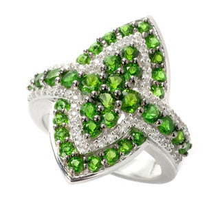 Sterling Silver Chrome Diopside and White Zircon Fashion Ring