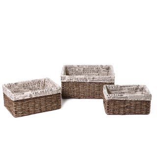 Adeco Rectangular Newspaper Print 3-piece Basket Set