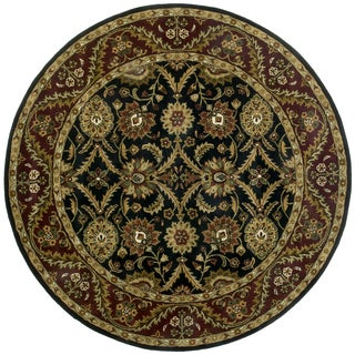 Hand-tufted Morris Black Round Wool Rug (8' x 8')