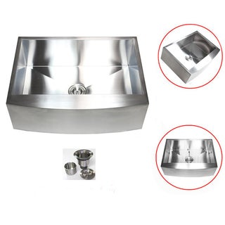Stainless Steel 36-inch 16-gauge Farmhouse Single Bowl Curve Apron Kitchen Sink