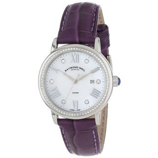 Raymond Weil Women's 'Maestro' Purple Leather Strap Watch