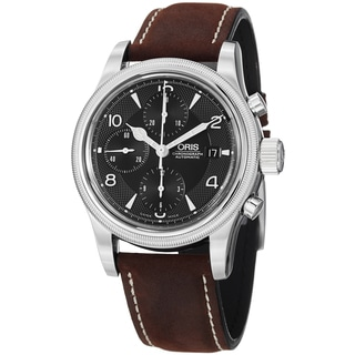 Oris Men's 774 7567 4084 LS 'Oskar' Black Dial Brown Leather Strap Limited Edition Watch
