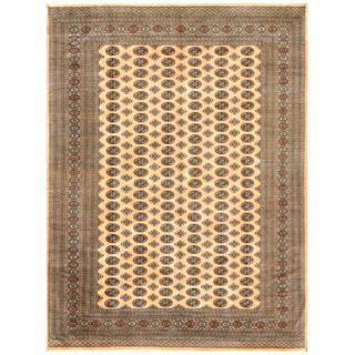 Pakistani Hand-knotted Bokhara Gold/ Black Wool Rug (9'1 x 11'10)