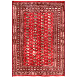 Pakistani Hand-knotted Bokhara Red/ Ivory Wool Rug (9'2 x 12')