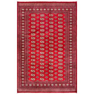 Pakistani Hand-knotted Bokhara Red/ Ivory Wool Rug (6'1 x 9'4)
