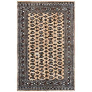 Pakistani Hand-knotted Bokhara Tan/ Black Wool Rug (6' x 9'1)