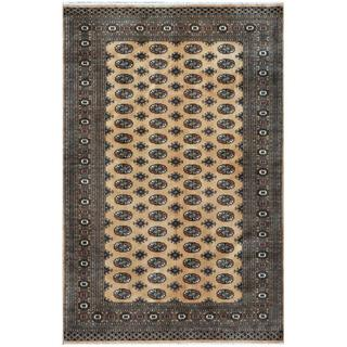 Pakistani Hand-knotted Bokhara Tan/ Black Wool Rug (6'1 x 9'2)