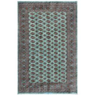 Pakistani Hand-knotted Bokhara Mint Green/ Ivory Wool Rug (6'4 x 9'4)