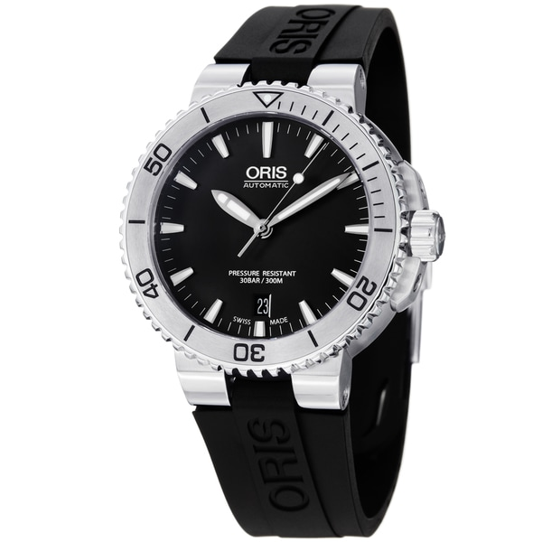 Oris Men's 733 7676 4154 RS 'Aquis' Black Dial Black Rubber Strap Automatic Watch