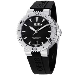 Oris Men's 733 7676 4154 RS 'Aquis' Black Dial Black Rubber Strap Automatic Watch