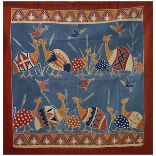 Hand-painted 'African Guinea Fowls' Tapestry (Zambia)