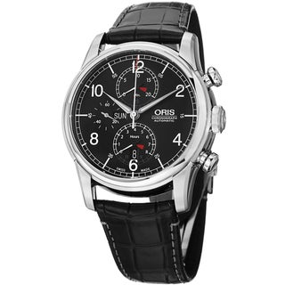 Oris Men's 7754 7686 4084 SET 'Raid' Black Dial Black Leather Strap Limited Edition Watch