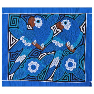Hand-stitched 'Parrots in Blue' Mola Textile Art (Panama)
