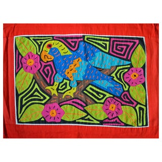 Hand-stitched 'Parrot in Hibiscus Bush' Mola Textile Art (Panama)