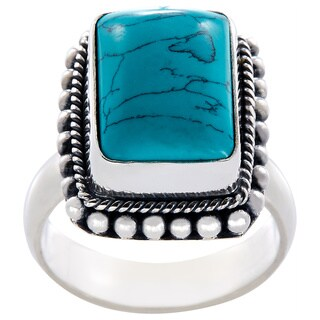 Handcrafted Sterling Silver Bali Rectangular Turquoise Beaded Bezel Ring (Indonesia)
