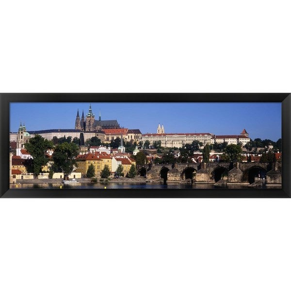 'Vltava River, Prague, Czech Republic' Framed Panoramic Photo
