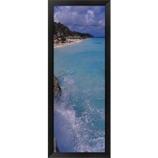 'Waves breaking on rocks, Bermuda' Framed Panoramic Photo
