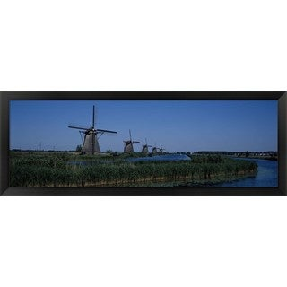 'Kinderdijk, Rotterdam, Netherlands' Framed Panoramic Photo