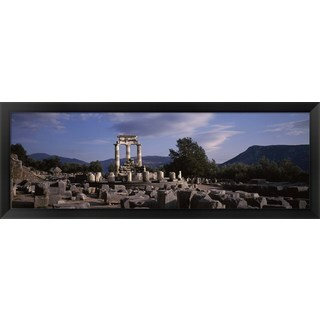 'Ruins of a temple, The Tholos, Delphi, Greece' Framed Panoramic Photo