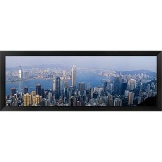 'Victoria Harbour, Hong Kong, China' Framed Panoramic Photo