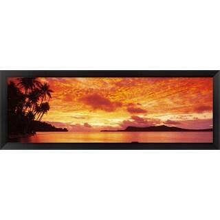 'Sunset, Huahine Island, Tahiti' Framed Panoramic Photo