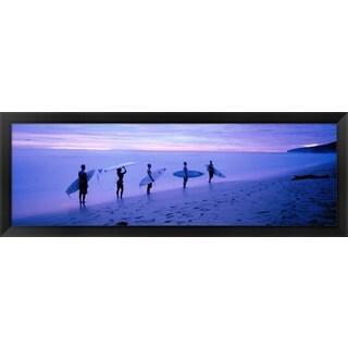 'Surfers on Beach Costa Rica' Framed Panoramic Photo