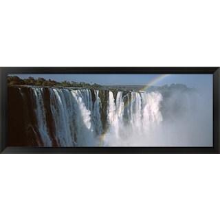 'Rainbow over Victoria Falls, Zimbabwe' Framed Panoramic Photo