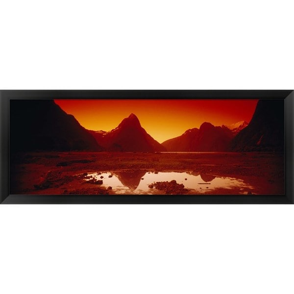 'Mitre Peak, South Island, New Zealand' Framed Panoramic Photo