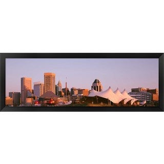 'Morning skyline & Pier 6 concert pavilion Baltimore MD ' Framed Panoramic Photo