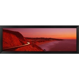'Pacific Coast Highway At Sunset, California' Framed Panoramic Photo