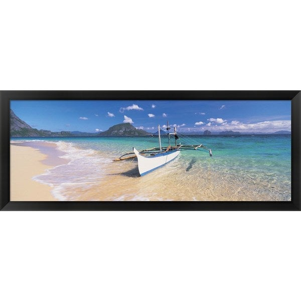 'Fishing boat moored on the beach, Palawan, Philippines' Framed Panoramic Photo