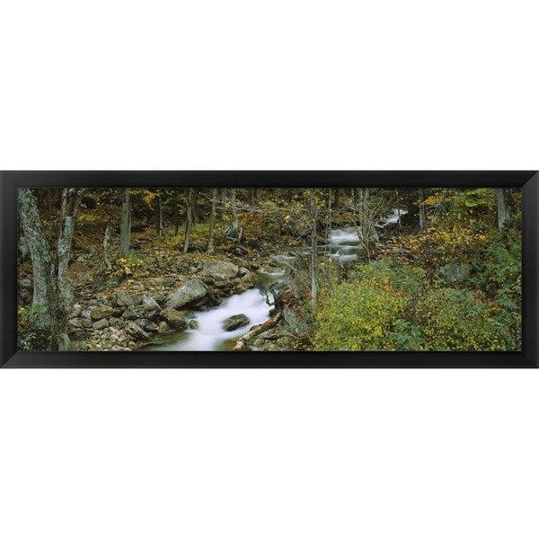 'Stream passing through a forest, New Hampshire' Framed Panoramic Photo