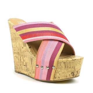 Fahrenheit Women's 'Jennifer-01' Canvas Cross-strap Wedge Sandals