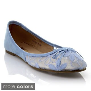 Mixx Shuz Women's 'Toni' Mesh Flower Fabric Ballet Flats