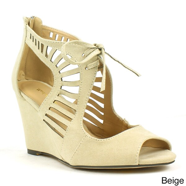 Mark and Maddux Women's 'Elisha-05' Cut-out Lace-up Wedge Sandals
