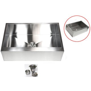 Stainless Steel 33-inch 16-gauge Farmhouse Single Bowl Flat Apron Kitchen Sink
