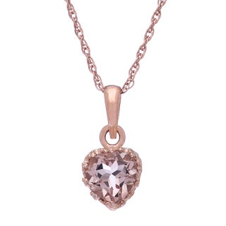 Gioelli Rose Gold-over-Silver 6mm Heart-cut Simulated Morganite Tiara Pendant
