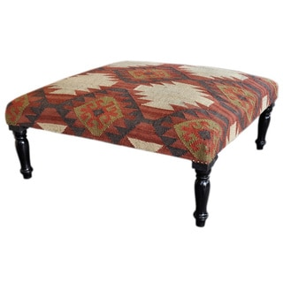 Large Square Wooden Kilim Ottoman (India)